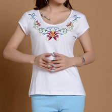 Women's T shirt short sleeved cotton embroidered ethnic style round neckline woman t-shirt