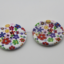 DIY fancy 40mm 4-hole BIG round wood buttons flower design painting MM-035