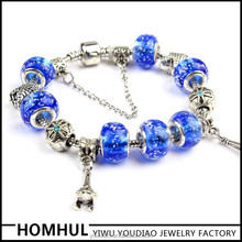 2015 Hot Sale Charm Bracelet With Blue Murano Glass Beads fit for pandora bracelets