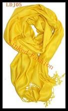 Pashmina Women Winter Cashmere Silk Long Scarf Soft Shawl Wrap Solid Scarf Yellow