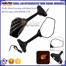 BJ-RM-066 Plastic Skull Hand Design Blinkers Motorcycle Mirror Turn Signal For Yamaha R1
