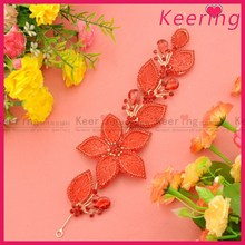 newst fashion red flower bridal hair accessories for wedding decoration in bulk WHD-001