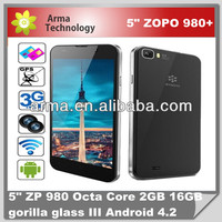 Original ZOPO ZP980+ Octa Core 1G RAM 16GB ROM MTK6592 Android 4.2 5'' FHD 1920*1080p Gorilla Glass 14M Camera GPS WCDMA