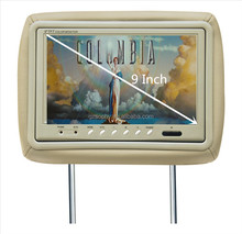 16 : 9 widescreen car pillow tft lcd monitor making with good quality digital panel headrest monitor with beige black gray color