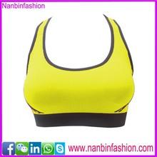 wholesale yellow u neck fabric for sport bra in stock