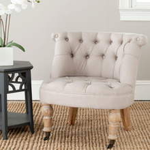 European style upholstered taupe linen fabric button tufting on the backrest rolled top casters accent chair