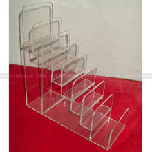 8 slot acrylic purse display riser, 8 compartment acrylic hand bag Display Holder, Acrylic Wallet Display Riser