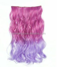 Vogue Light Purple&Pink Two Tone Gradient Curly Hair Ombre Hair Hairpieces/hair extension clip in