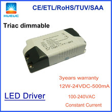 12w ETL/TUV approved high efficiency 350ma 500ma 700ma Triac dimming power led driver for led lighting accessories