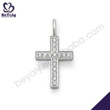 Nice style cubic zircon inlaid silver cross pendant necklace