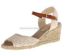 Latest Design woman shoe lace upper wedge 2015 sandal high heel shoes