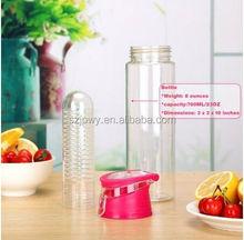 2016 Glass water bottle 32oz water bottle joyshaker disposable Tritan Plastic & Leak Proof fruit infuser water bottle infuser