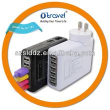 4A and 6 USB Charger, Multiple USB Mobile Phone Charger, Changable Plug Travel Charger with U.S.EU UK AU Plug
