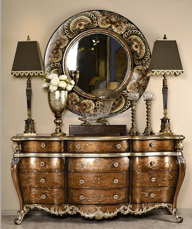 QQ20140617124753 - Retro Hand Painted Console Cabinet With Mirror,Elegant Gilding Chest
