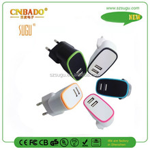 2015 Fresh US/EU/UK plug two-color double usb home charger for mobile phone,tablet pc, laptop....