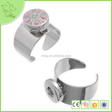 Simple Design Round Shape Cheap Jewelry DIY Snap Buttons Alloy Men Finger Ring