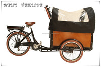 CE Danish bakfiets family 3 wheel electric cargo New coffee tricycle with pedal sensor for sale
