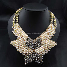 2015 beaded butterfly choker statement necklace chinese pearl necklace