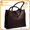 high quality Guangzhou handmade woven tote bag ladies leather retro bag