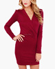 CHEFON Long fitted sleeve pad shoulder wrap front elegant red dress for women