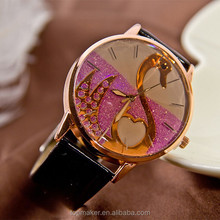 Ling surface colorful beautiful little swan new arrival leather watch