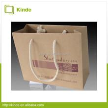 Wholesale cotton rope handle kraft paper shopping bag