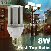 For Solar light using Replace CFL Garden post top light 8w led corn light