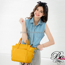 BELLUCY tropical yellow color studded leather shoulder bag