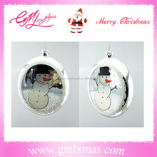new product Christmas clear glass ball Christmas ornaments,Hand Blown christmas ornaments clear glass flat ball