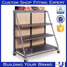 creative design flooring metal frame display standing for cups with casters
