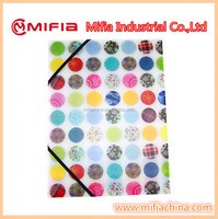 A4, FC Office Plastic Stationery PP Decorative hanging Elastic closure filing folder with UV printing