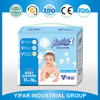 Own brand Aiwibi packing bag professional production line produced unscented reusable disposable baby diapers
