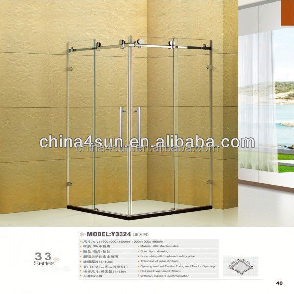 Square Type Sliding Door Glass Door Frameless Shower Cabin