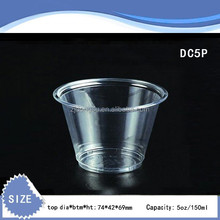 5oz DONGSU Eco-friendly clear disposable plastic trail cup also can be printed