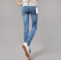 Spring thin Slim breasted tight jeans lace waist pants feet pencil pants girl Jeans