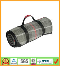 New easy carry roll up 100 acrylic tartan picnic blankets with waterproof back
