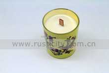 Natural soy wax red white and blue pillar candle with wooden wick