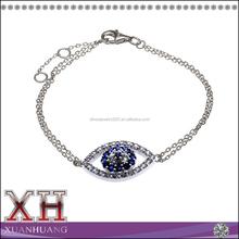 925 Sterling Silver Micro Zircon Cube Chain Evil Eye Turkish Bracelet