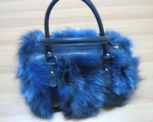 Brand New Fox fur handbag with genuine leather leash and details