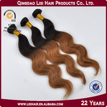22 Years Factory Best Colored Brazilian Hair Extensions Two Tone