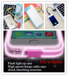 Factory price flash light case for iphone 6 , high speed usb charge cable case for iphone
