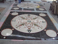 Water jet brown Marble floor medallion cut by waterjet cutting machine