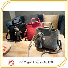 leather classic grid female pu tote little bear pendant cross body single shoulder bag