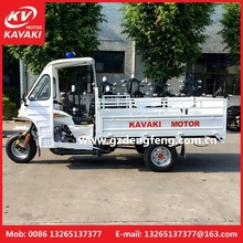 China motorized driving cargo tricycle with cabin,200cc engine,enclosed cargo box tricycle loading