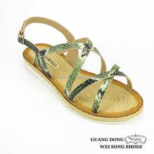First Comfort Shoes Snakeskin Pattern Straw Women Falt Sandals