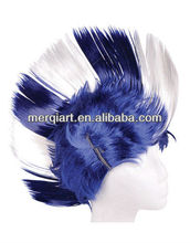 New Adult Blue and White School and Team Spirit Mohawk Wig