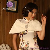 PJ06 Faux Fur Formal Dress Cape Bridal White Coat Shawls and Wraps Girls