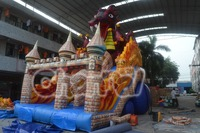 2014 IAAPA exhibition giant dragon inflatable dry slide