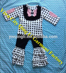 Baby Girl Wholesale Children's Boutique Clothing Sets Polk Dot 3/4 SleeveTop and Tripe Pants Set