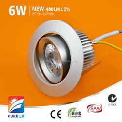 120V 230V 2700K - 6000K No driver Ra>80 Driverless Dimmable 6W AC COB led downlight Lamp